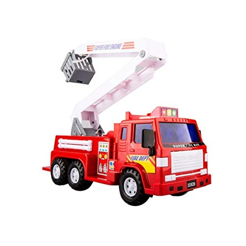 PENGJIE-Model Children's Toy Car Boy Large Fire Truck Engineering Vehicle Lift Ladder Can Spray Water Inertia Sprinkler Color Red