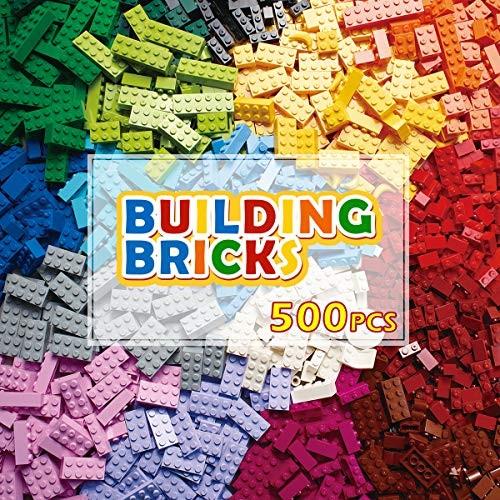PANLOS STEM Building Bricks Kit Classic Colors 500 Pieces Blocks Toys-Compatible with All Major Brands
