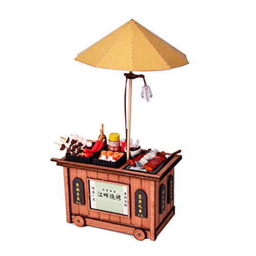 Gbell 3D Retro Hong Kong-Style Car TrolleyWooden DIY Miniature House Furniture Puzzle Decorate Perfect Creative Gift for Baby Boy Girls