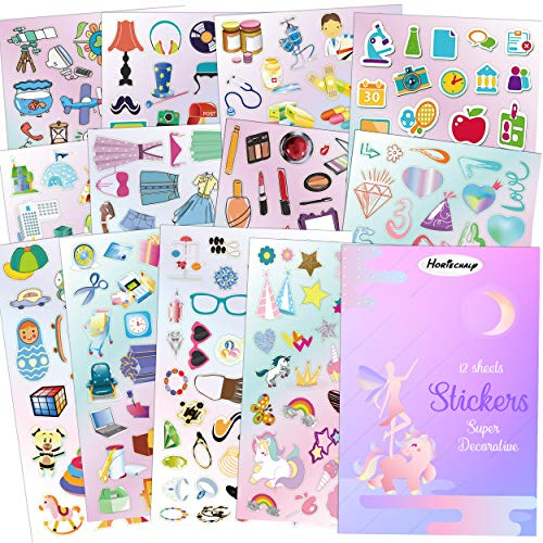Horiechaly Stickers Daily Collection for Grils Children Parents Teachers 12 Sheets Including Unicorn Toys Cosmetics Buildings Tools Stationery etc