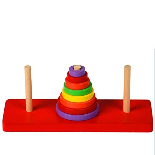 SUNMART USA 8 Layers Baby Cartoon Wooden Rainbow Ring Tower Stacking Blocks Matching Stack Up Early Learning Educational Toy