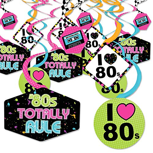 80's Retro – Totally 1980s Party Hanging Decor Decoration Swirls Set of 40