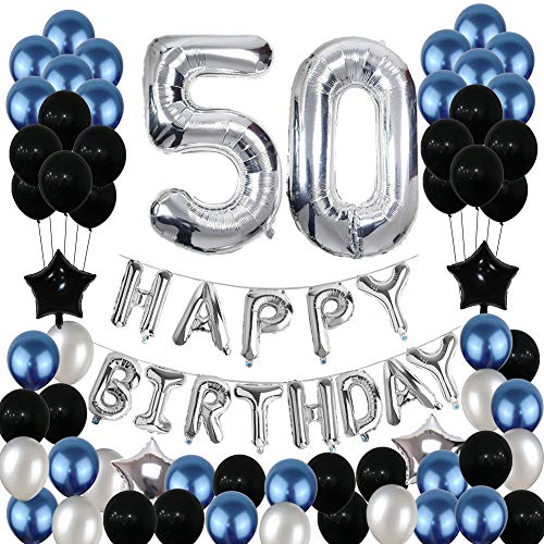 50th Birthday Decorations50 Balloons Party Supplies Happy 50 Banner Blue and Silver Black Foil Star for Women Men 81PCS