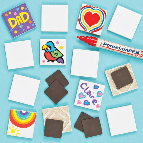 Baker Ross Porcelain Ceramic Tile Magnets for Kids to Paint Your Own in Arts & Crafts Activities Pack of 10