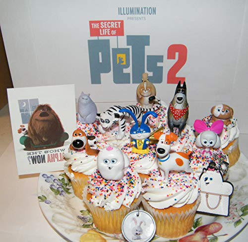 The Secret Life of Pets 2 Movie Deluxe Cake Toppers Cupcake Decorations 13 Set with 10 Figures Pet Tattoo Dog Tag Ring Key chain Original and All New Characters