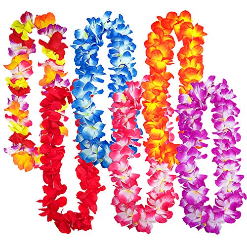 Livder 6 Pieces Hawaiian Flower Leis Necklaces Tropical Island Beach Theme Party Decorations Supplies