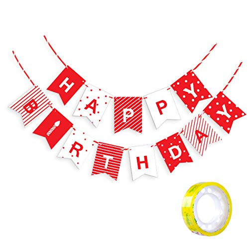 AndrewHome Happy Birthday Banners Party Decorations with Free Fixing Tape Red