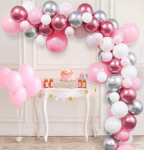 85 Pcs DIY Balloons Arch Garland Kit with Latex Pink Shiny Metallic Silver Red Party Decorations for Baby Shower 1st Birthday Wedding Anniversary