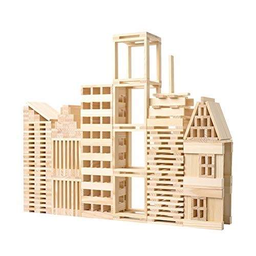 NUOBESTY 100pcs Wooden Pile Tower Building Blocks 3D Puzzle Toys Preschool Educational