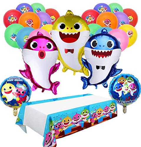 Baby shark party supplies and tablecloth 3pcs family balloons 2pcs duplex prints foil 10pcs latex premium