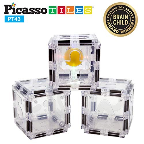 PicassoTiles Magnetic Building Block Toy 43 Piece Clear Color Alphabet Number and Symbol Learning Set Magnet Construction Toys Educational STEM Child Brain Development Stacking Blocks Playboards PT43