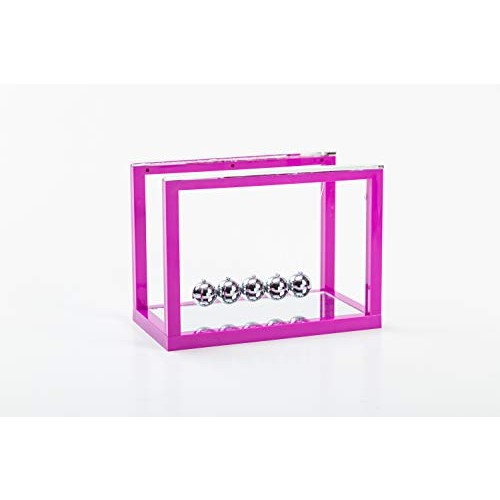 Asian Home Newtons Cradle Balance Balls 5 Pendulum with Mirror Desk Top Decoration Kinetic Motion Toy for and Office Physics Toys Teachers Purple
