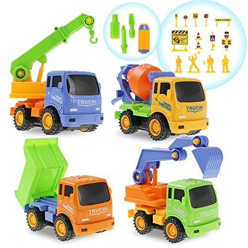 Coolplay Take Apart Toys Set Assemble Construction Vehicles Engineering Truck Car 4 Models Vehicle Play for Kids Multicolor