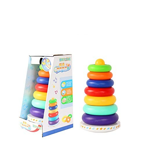 AIOJY Plaything Game Stack Circle Tower Baby Infant Child Early Education Puzzle Music Colorful Rainbow Stacking Bauble Multifunction Tumbler Layer Parent-Child Throw Toy Over 3 Years Old