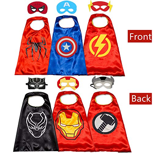 Kids Costumes Capes and for Superhero Double Side Cape Best Toys Gifts Red