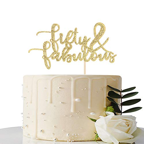 Gold Glitter Fifty & Fabulous Cake Topper – 50th Birthday Anniversary Decoration