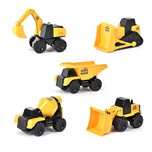 Micro Mini Construction Vehicles  Set of 5 Toy Cars and Trucks for Kids
