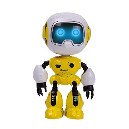SPACE LION Kids Mini Robot Toy Metal Body can be rotated Flashing Lights and Cool Sounds Interactive for Gift Head Touch Sensitive LED Yellow