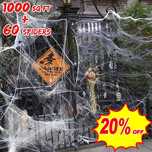 1000 Sq Ft Stretch Spider Webs Halloween Outdoor Decorations 1058 oz Webbing with 60 Fake Black Spiders Indoor Spooky for Party Yard Garden