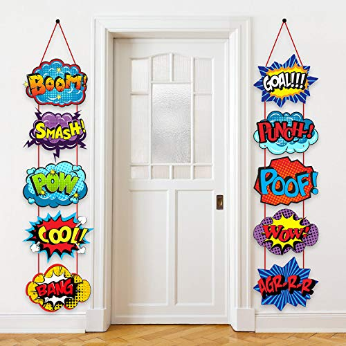 Large Hero Action Sign Cutouts Super Fun Theme Party Supplies Door Birthday Wall Decorations 10 Counts