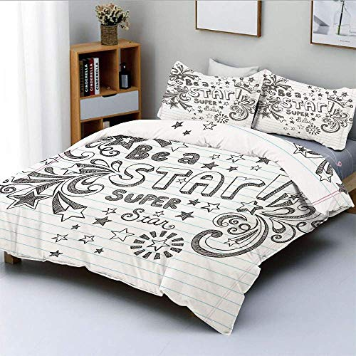 SINOVAL Be A Super Star Phrase on Notebook Paper Backdrop with Stars Crown Studio Single Apartment Decorate Decorative Custom Design 3 PC Duvet Cover Set Queen Full
