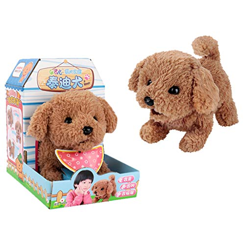 Nivalkid Cute Walking Pet Barking Dog Electric Toy Soft Gift Plush for Kids Birthday Party Doll Attractive Educational Game Children Decorate Creative Gifts E