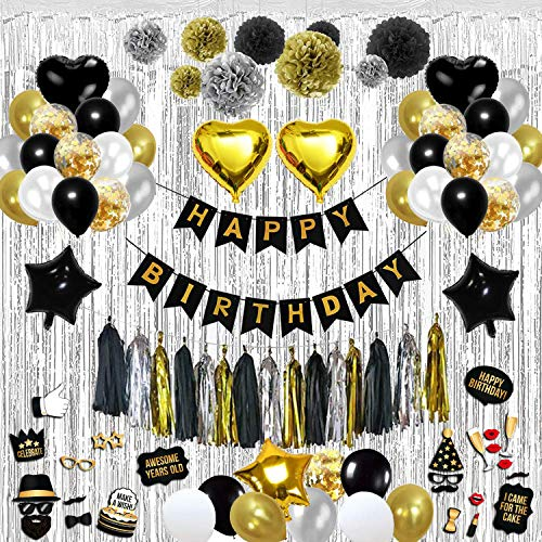 Birthday Decorations Party Kit Over 100-Piece Black and Gold Set Includes Wall CurtainBalloons Foil Tassels Photo Props Pom Poms Happy Banner Durable