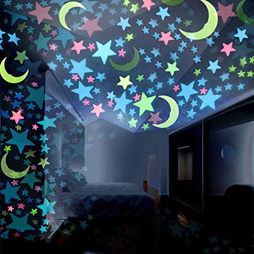 Riforla 100 Pcs Colorful Glow in The Dark Luminous Stars Fluorescent Noctilucent Plastic Wall Stickers Murals Decals for Home Art Decor Ceiling Decorate Kids Babys Bedroom Decorations
