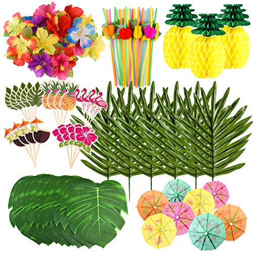 FEPITO 123 Pcs 7 Kinds Tropical Hawaiian Party Decorations Set Luau Supplies Decor Leaves Flowers Tissue Paper Pineapples Cupcake Toppers Umbrella Picks for