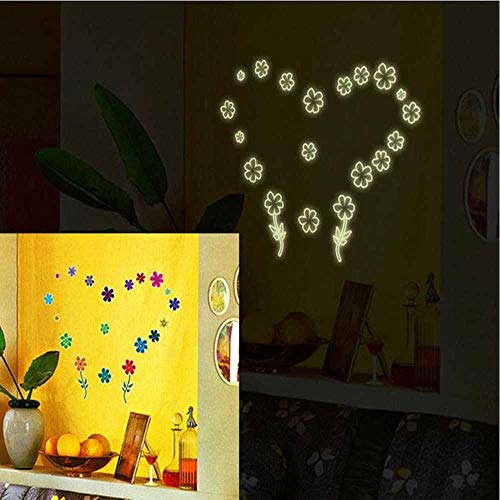 Riforla Lovely Little Flower Glow in The Dark Luminous Fluorescent Noctilucent Plastic Wall Stickers Murals Decals for Home Art Decor Ceiling Decorate Kids Babys Bedroom Decorations Gift