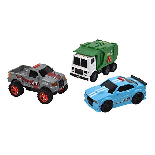 Sunny Days Entertainment Mini City Vehicles 3 Pack  Lights and Sounds Pull Back