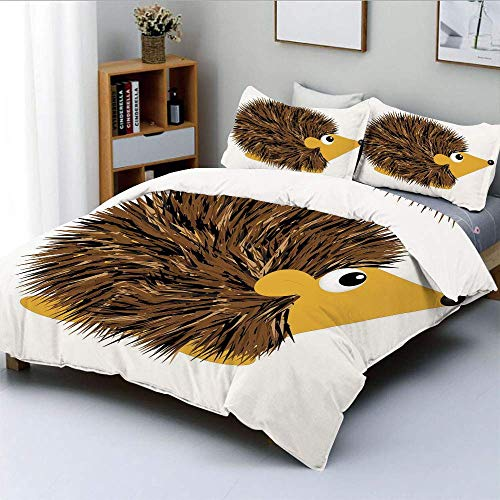 SINOVAL Cartoon Animal with a Happy Smile on Its Face Hedgehog Spikes Studio Single Apartment Decorate Decorative Custom Design 3 PC Duvet Cover Set Queen Full