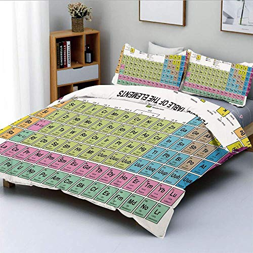 SINOVAL Inspirational Science Chemistry Elements for Kids Learning Fun Image Studio Single Apartment Decorate Decorative Custom Design 3 PC Duvet Cover Set Queen Full