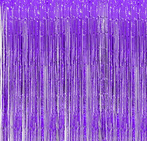 Purple Foil Fringe Backdrop – Pack of 8 Shiny Metallic Tinsel Curtain Ideal for Bridal Shower Wedding Birthday Christmas New Year Door Windows Wall Decoration