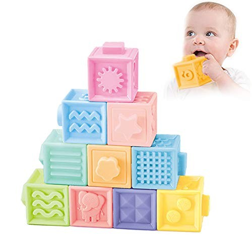NUOEY Baby Blocks Soft Building Teething Chewing Toys Early Educational Squeeze Stackable Play with NumberAnimalsTextures and Matching Game for 0-3 Years