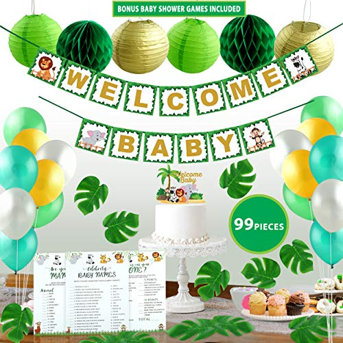 Jungle Theme Safari Gender Neutral Baby Shower Decorations with Bonus Games Cake Topper Tropical Leaves