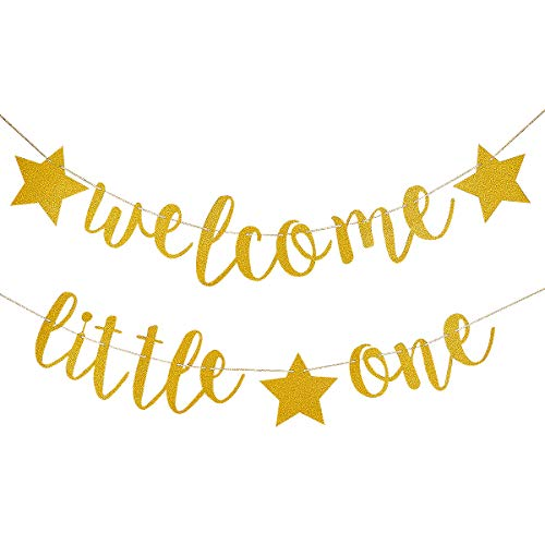 Gold Glittery Welcome Little One Banner- Baby Shower Party DecorGender Reveal PartyBirthday PartyGlittery Decor