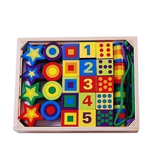 Mxueei Children's Wooden Lacing Beads Toy – Building Blocks Digital Geometric Shapen Color Cognitive Box Educational Activity with 27 and 2 Laces