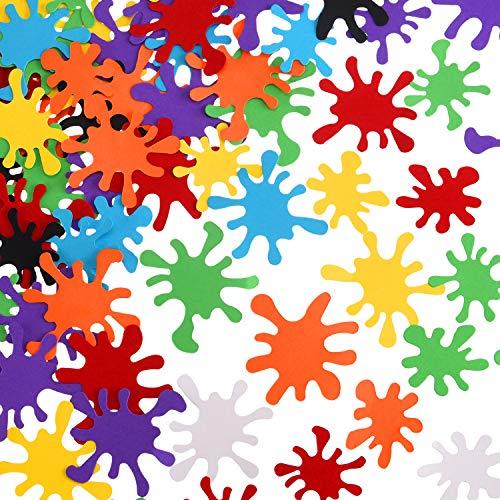 200 Pieces Paint Splatter Confetti Art Splash Table for Birthday Party Decorations 8 Colors