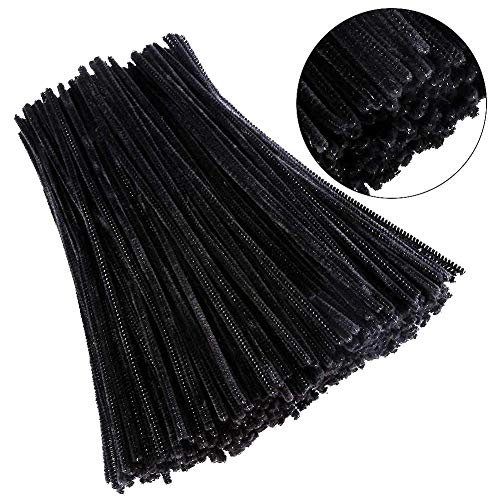 500 Pack Black Chenille Pipe Cleaners Crafting Kit for Kids DIY Art Supplies Children's Craft Projects Paper Crafts Holiday Lightweight Textile Safe Humanized Design