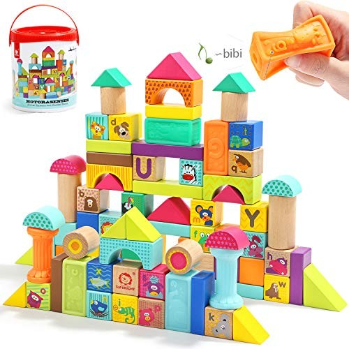 TOP BRIGHT Wooden Building Blocks Set for ToddlersBaby 1 Year Old 80 Piece
