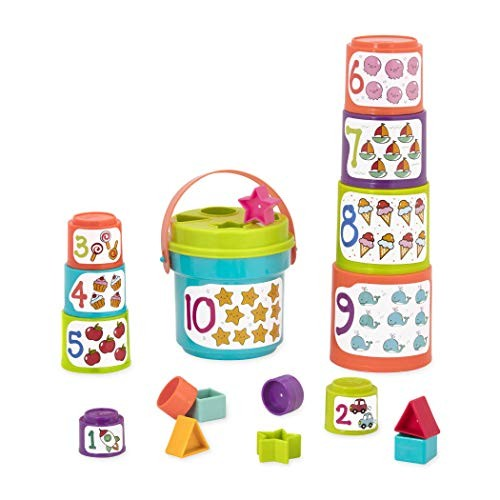 Battat – Sort & Stack Educational Stacking Cups with Numbers and Shapes for Toddlers Renewed