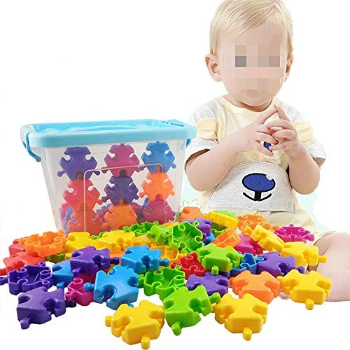 MDYYD Kids Wooden Building Blocks 75 Piece Plastic Block Set Toys for Intelligent Learning DIY Stick with Storage Box Ideal Educational Montessori Toy