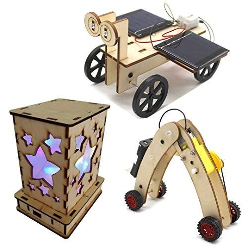 DIY Science Kits for Kids – 3 STEM Educational Building Projects Craft Kit Solar Circuits Car and Fairy Nightlight Lantern Machine Caterpillar