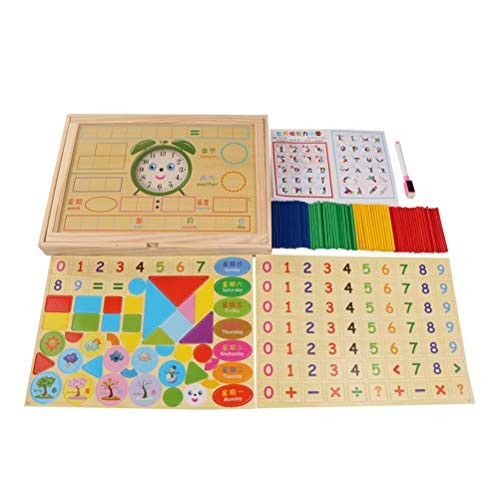 STOBOK Wooden Maty Toys Mathematical Intelligence Stick Building Blocks Number Cards Whiteboard Clock Educational Counting Rod Set