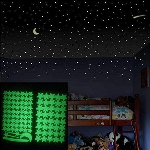 Riforla 103Pcs Star Glow in The Dark Luminous Fluorescent Noctilucent Plastic Wall Stickers Murals Decals for Home Art Decor Ceiling Decorate Kids Babys Bedroom Decorations Removable