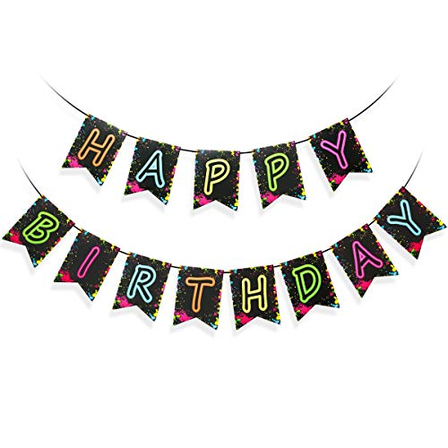 Glow Party Happy Birthday Banner Decoration Decorations Letter Supplies