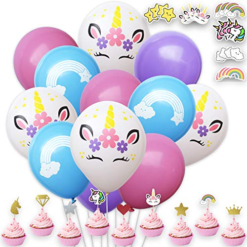Unicorn Party Supplies – 24 Freee Stickers 30 Balloons Cupcake Topper for Decorations Birthday