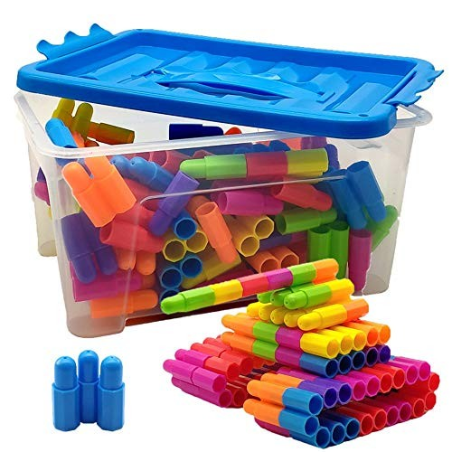 Toy Kids Wooden Building Blocks Bricks 108 Pieces Set Toys For With Storage Box ideal Educational Color Multi-colored Size Free