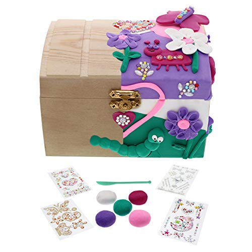Purple Ladybug Kids Jewelry Box For Girls Diy Craft Kit With Wooden 5 Colors Air Dry Clay Sculpting Tool 4 Sheets Glitter Gem Stickers Fun Arts And Crafts Set Great Gift